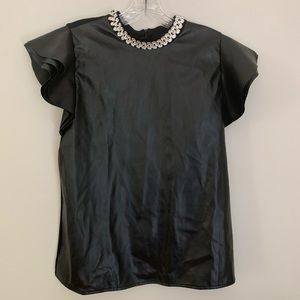 Gracia faux leather jeweled neckline dressy Top